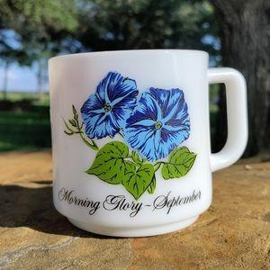 VTG September Morning Glory flower milk glass mug